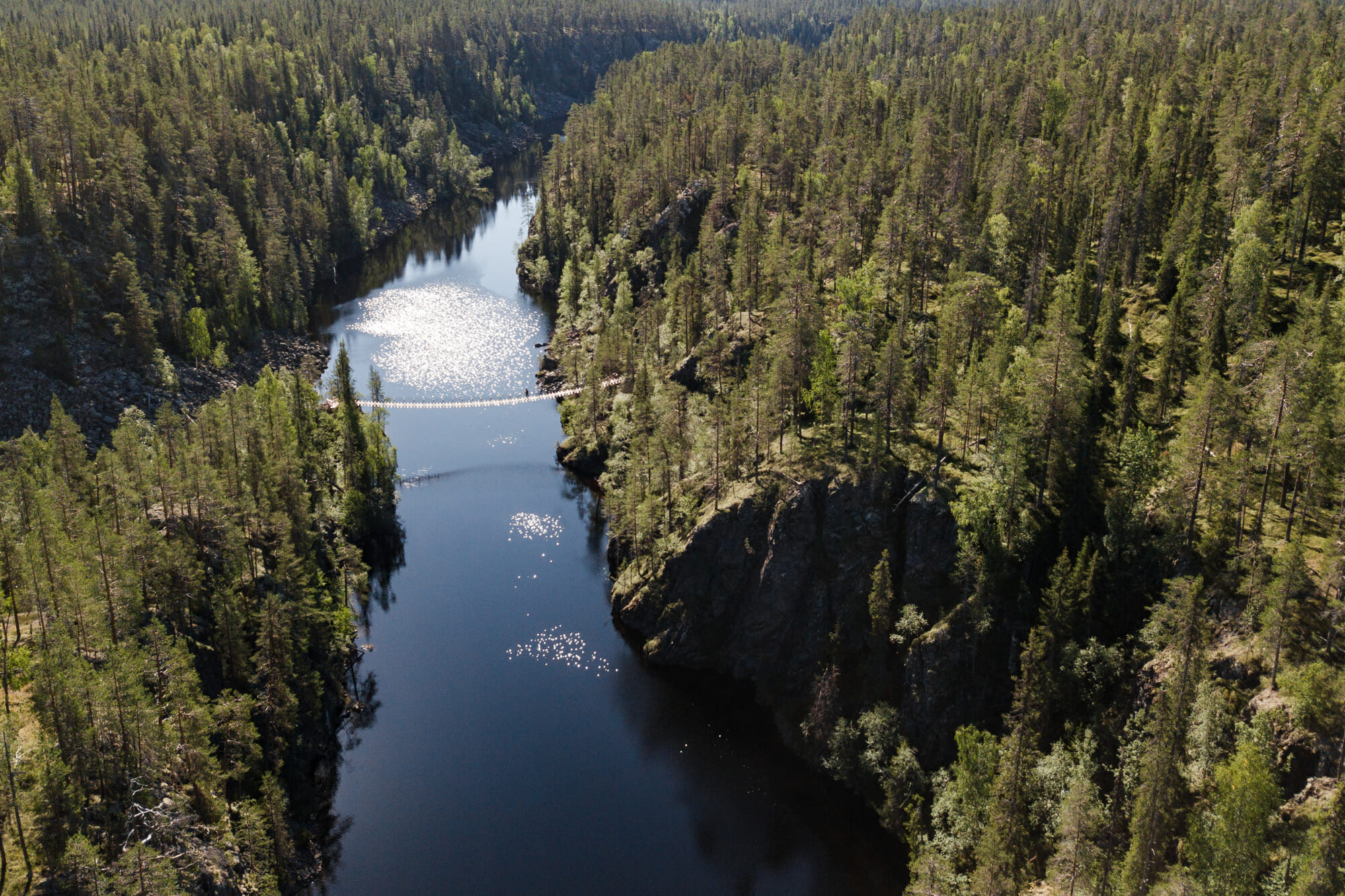 Pont suspendu au dessus du canyon de Julma-Ölkky
