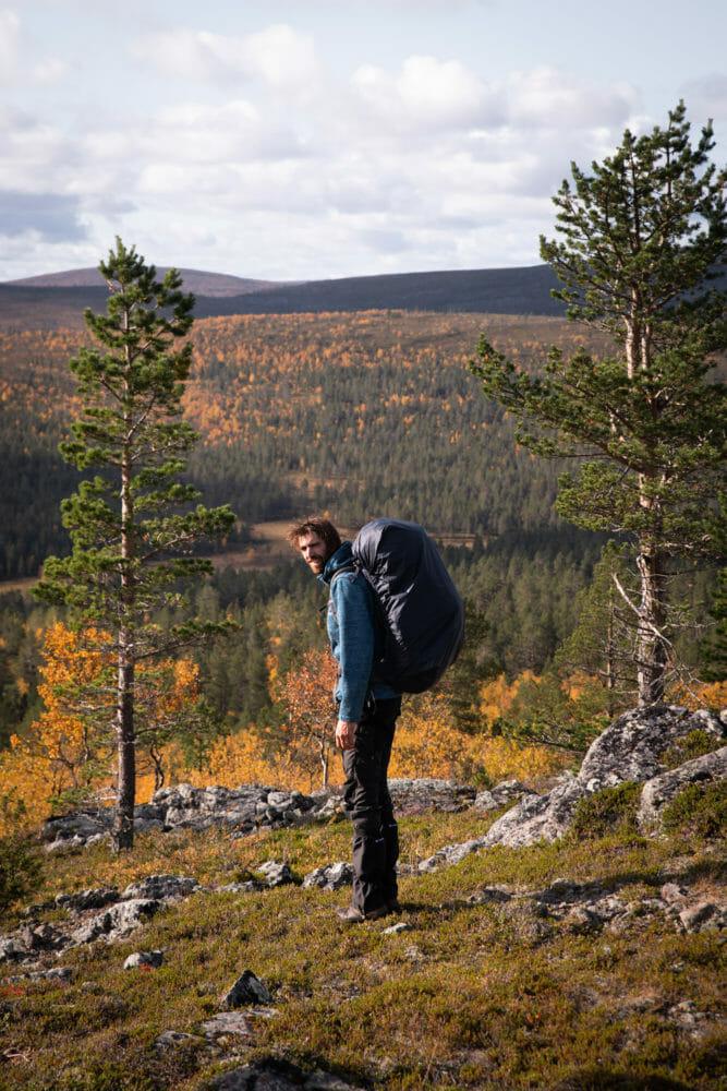 Randonneur en Laponie Finlandaise