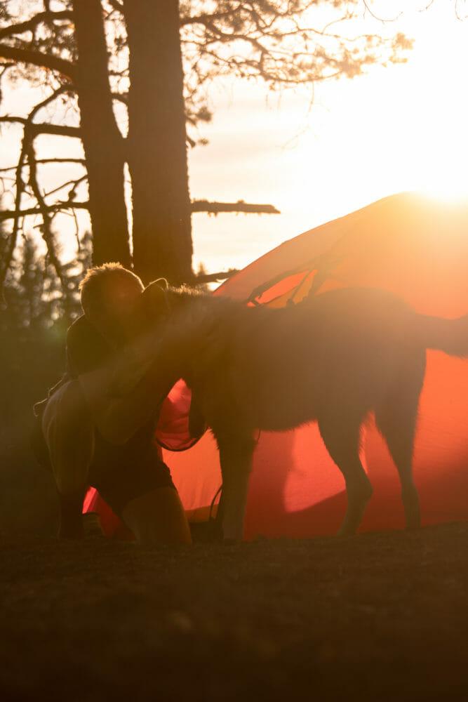 Flóki et Julien au coucher du soleil