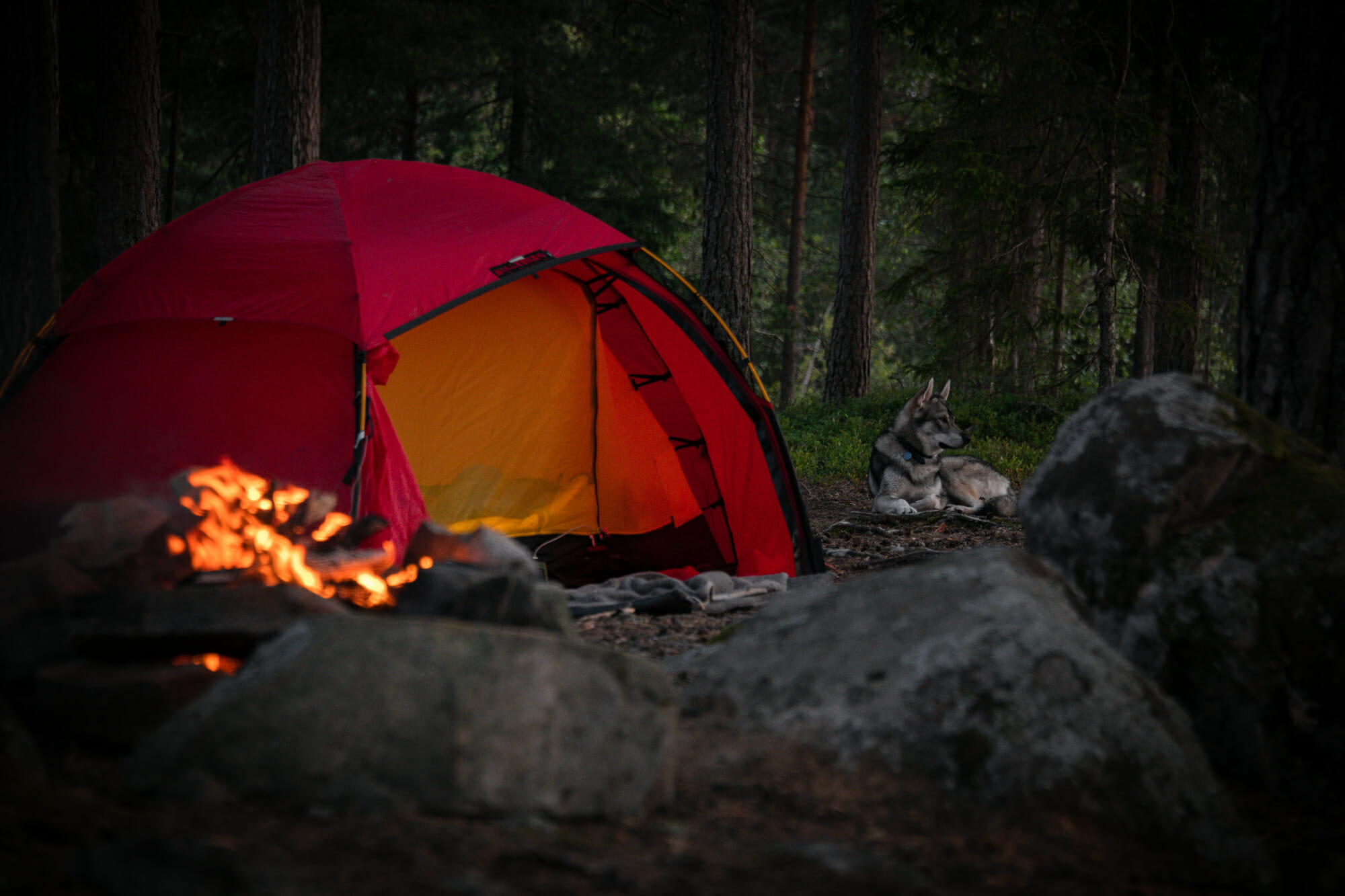 Bivouac sur le Nedre Blomsjön en Suède